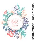 vector thank you card with... | Shutterstock .eps vector #1063215986