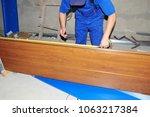 garage door repair. contractor... | Shutterstock . vector #1063217384