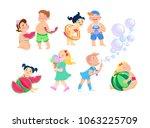 set of clip art kids cartoon on ...   Shutterstock .eps vector #1063225709
