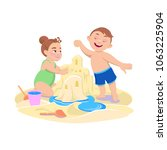 cartoon girl and boy playing in ... | Shutterstock .eps vector #1063225904