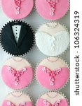 wedding party cupcakes | Shutterstock . vector #106324319