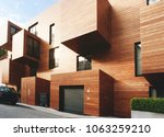 modern contemporary wood sided ...   Shutterstock . vector #1063259210