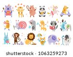 flat vector set of funny... | Shutterstock .eps vector #1063259273