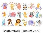 flat vector set of funny... | Shutterstock .eps vector #1063259273