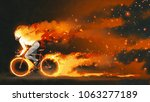 man riding a mountain bike with ... | Shutterstock . vector #1063277189