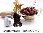 arabic traditional dishes  pots ... | Shutterstock . vector #1063277219