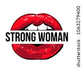 vector red lips with strong... | Shutterstock .eps vector #1063279400