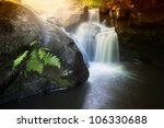 Colorful Waterfall In Summer