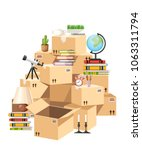 stack of boxes. cardboard boxes ...   Shutterstock .eps vector #1063311794