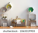pastel child's room. playroom.... | Shutterstock . vector #1063319903