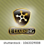 gold badge or emblem with... | Shutterstock .eps vector #1063329008