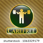 gold shiny emblem with squat... | Shutterstock .eps vector #1063329179