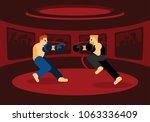 mix martial art battle in red...   Shutterstock .eps vector #1063336409