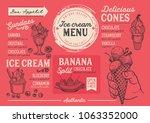 ice cream restaurant menu.... | Shutterstock .eps vector #1063352000
