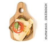 open  faced cheese sandwich... | Shutterstock . vector #1063360634