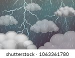 sky scene with thunders and... | Shutterstock .eps vector #1063361780