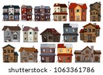 old houses in different designs ... | Shutterstock .eps vector #1063361786