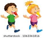 boy and girl eating popsicle... | Shutterstock .eps vector #1063361816