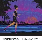 jogging in the sunset | Shutterstock . vector #1063364894