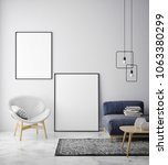 mock up poster frame in... | Shutterstock . vector #1063380299