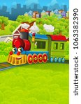 cartoon funny looking steam... | Shutterstock . vector #1063382390