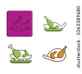 chicken icon set. color outline ... | Shutterstock .eps vector #1063389680