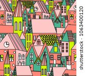 cute houses seamless pattern.... | Shutterstock .eps vector #1063400120