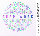 teamwork concept in circle with ... | Shutterstock .eps vector #1063413650