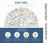 elderly people concept in half...   Shutterstock .eps vector #1063413983