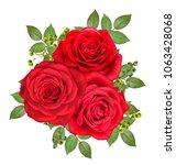 flower arrangement. bouquet ... | Shutterstock . vector #1063428068