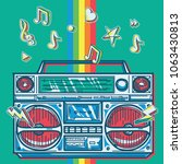 funky colorful drawn boom box... | Shutterstock .eps vector #1063430813
