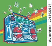 funky colorful drawn boom box... | Shutterstock .eps vector #1063430819