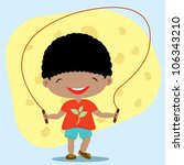 cute boy playing jumping rope | Shutterstock .eps vector #106343210