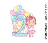 two years old girl standing... | Shutterstock .eps vector #1063445444