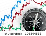 compass on the table and graph... | Shutterstock . vector #106344593
