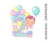 two years old boy standing near ... | Shutterstock .eps vector #1063446236