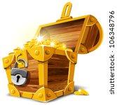 Opened Antique Treasure Chest....