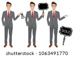 real estate agent in three... | Shutterstock .eps vector #1063491770