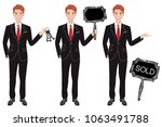 real estate agent in three... | Shutterstock .eps vector #1063491788