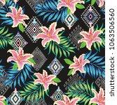ethnic tropical flower vector... | Shutterstock .eps vector #1063506560