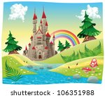 panorama with castle. cartoon... | Shutterstock .eps vector #106351988