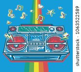 funky colorful drawn boom box... | Shutterstock .eps vector #1063522589