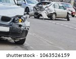 car crash accident on street ... | Shutterstock . vector #1063526159