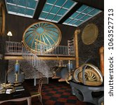 steampunk room with big windows ... | Shutterstock . vector #1063527713