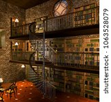 old steampunk library   3d... | Shutterstock . vector #1063528079