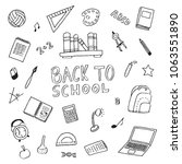 handdrawn back to school doodle ... | Shutterstock .eps vector #1063551890