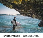 surfer staying in the ocean... | Shutterstock . vector #1063563983