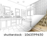 master bathroom drawing page... | Shutterstock . vector #1063599650
