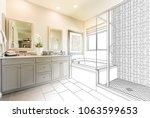 Custom Master Bathroom Design Drawing Gradating to Finished Photo. - stock photo