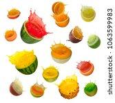 set of fruits with juice splash ... | Shutterstock . vector #1063599983